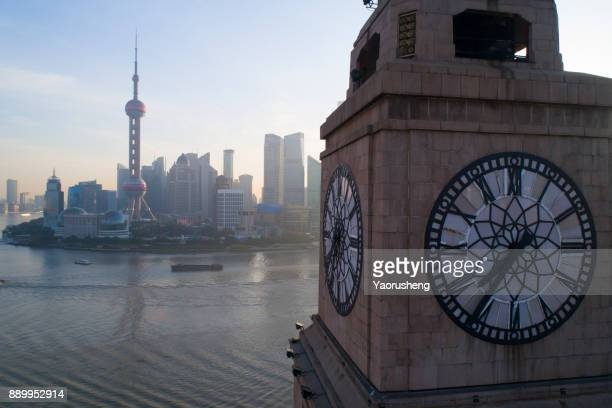 Shanghai morning, bird view from bell tower building on the bund