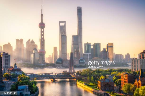 shanghai morning - lujiazui stock pictures, royalty-free photos & images