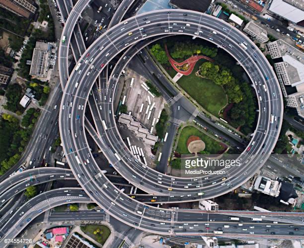 Shanghai Nanpu bridge circles from above