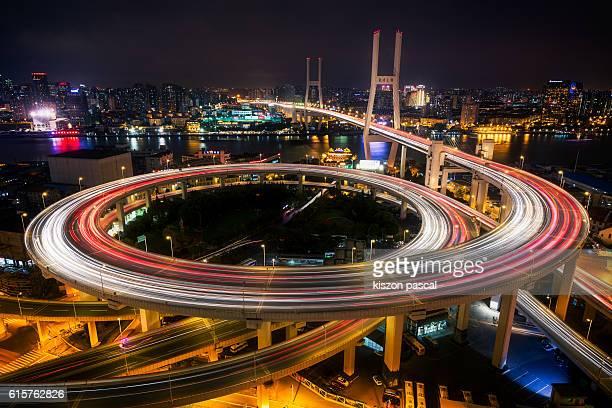 Shanghai Nanpu bridge in night , China