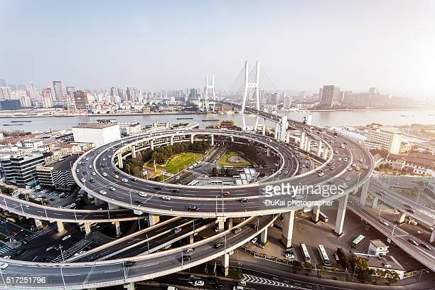 shanghai nanpu bridge - flyover stock pictures, royalty-free photos & images