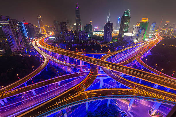 Shanghai Neon Night Highway Futuristic Illuminated Skyscrapers C Wall Art