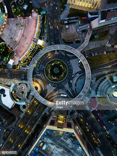 Vue aérienne de Shanghai de nuit