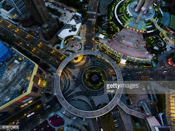 shanghai night aerial view - high section stock pictures, royalty-free photos & images