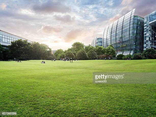 Shanghai north bund leisure lawn.Tourists happy games on the lawn,