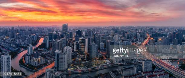 shanghai north cbd at dusk - wide stock pictures, royalty-free photos & images