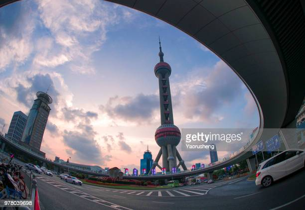 Shanghai Oriental Pearl Tower in beautiful sunset,China