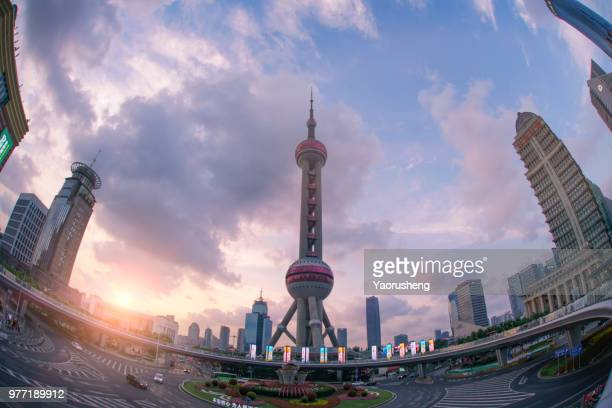 Shanghai Oriental Pearl Tower in sunset