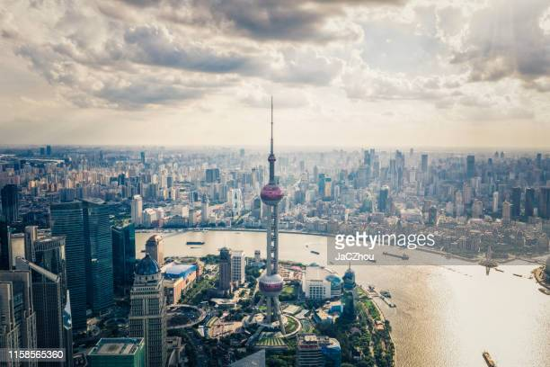 shanghai oriental pearl tower - huangpu river stock pictures, royalty-free photos & images