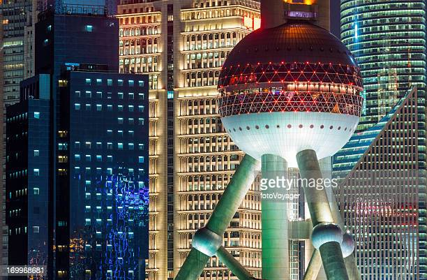 shanghai oriental pearl tower skyscrapers pudong china - oriental pearl tower shanghai stock pictures, royalty-free photos & images