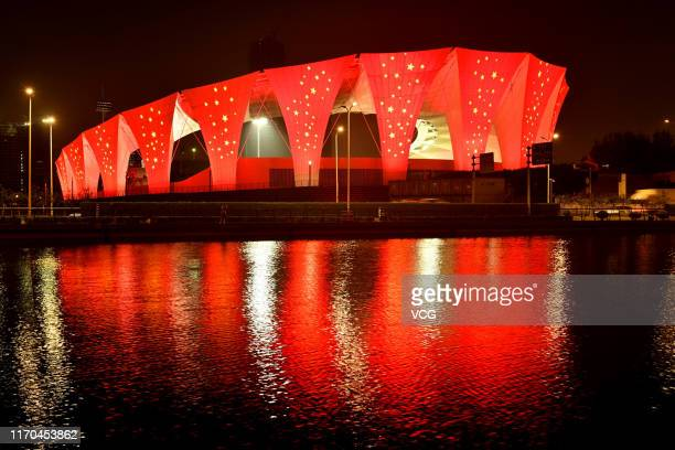 Shanghai Oriental Sports Center a venue for the 2019 FIBA Basketball World Cup is illuminated during the light debugging on August 26 2019 in...