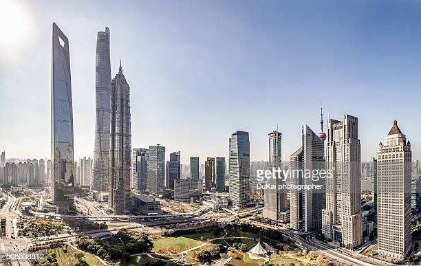 shanghai panorama - pudong stock pictures, royalty-free photos & images