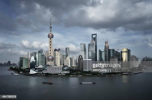 paisagem panorâmica de xangai - bund - fotografias e filmes do acervo