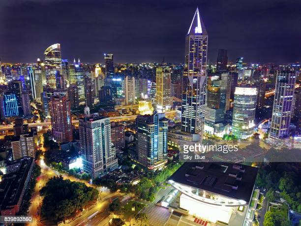 shanghai people's square at night - nanjing road stock pictures, royalty-free photos & images