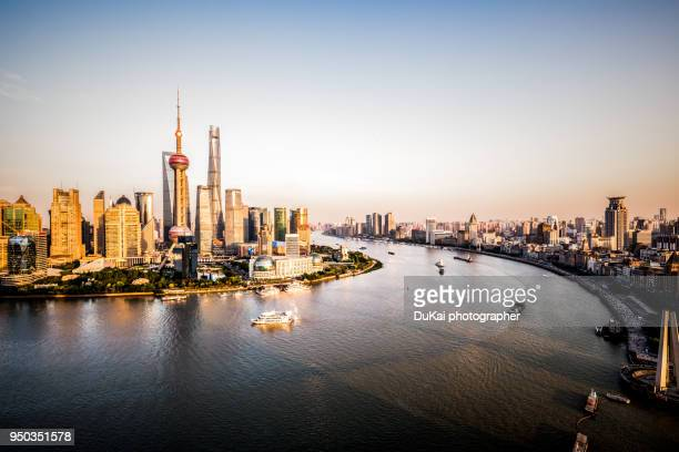 shanghai - huangpu river stock photos and pictures