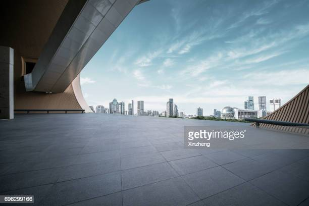 shanghai poly grand theatre and town square - roof stock photos and pictures