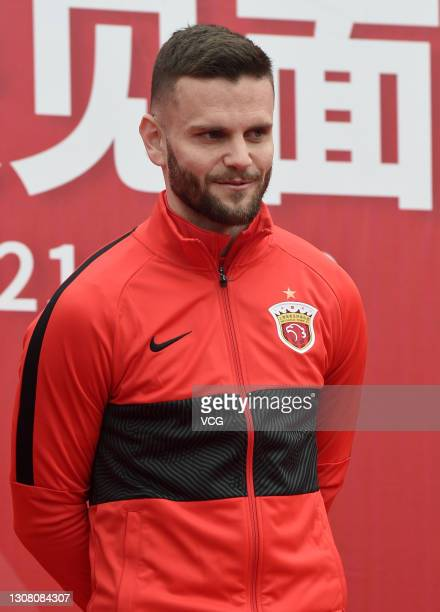 Shanghai Port FC's new signing Ante Majstorovic attends his presentation ceremony on March 20, 2021 in Shanghai, China.