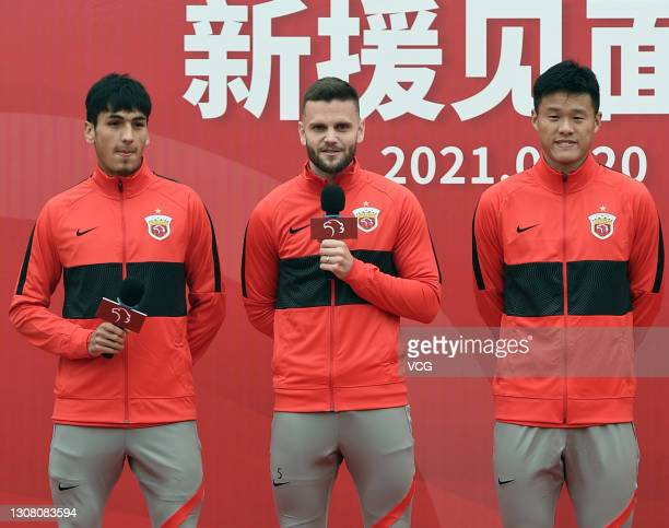 Shanghai Port FC's new signings Abulahan Harik, Ante Majstorovic and Li Ang attend their presentation ceremony on March 20, 2021 in Shanghai, China.