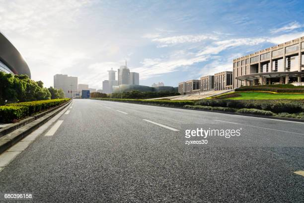 shanghai pudong century avenue cityscape.china - east asia,shanghai. - urban road stock pictures, royalty-free photos & images