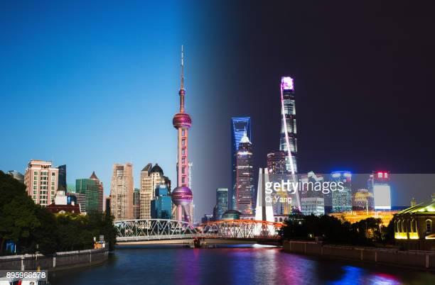 Shanghai Pudong day and night,China
