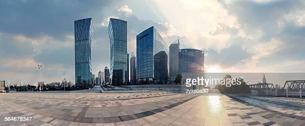 Shanghai pudong financial District at dusk