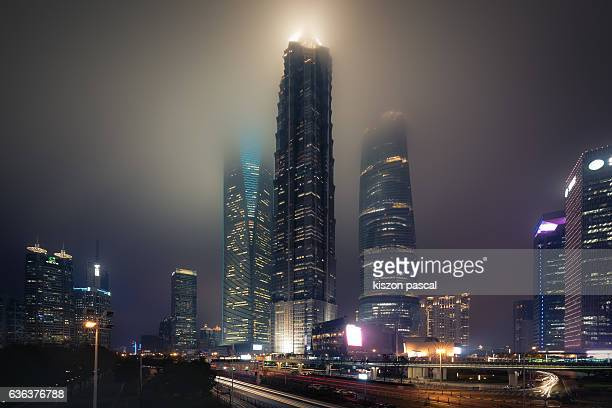 Shanghai Pudong financial district in night ( Shanghai ; China )