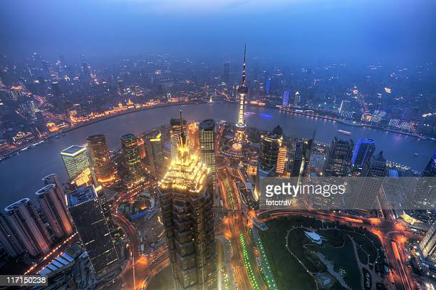 Shanghai Pudong skyline, Aerial view