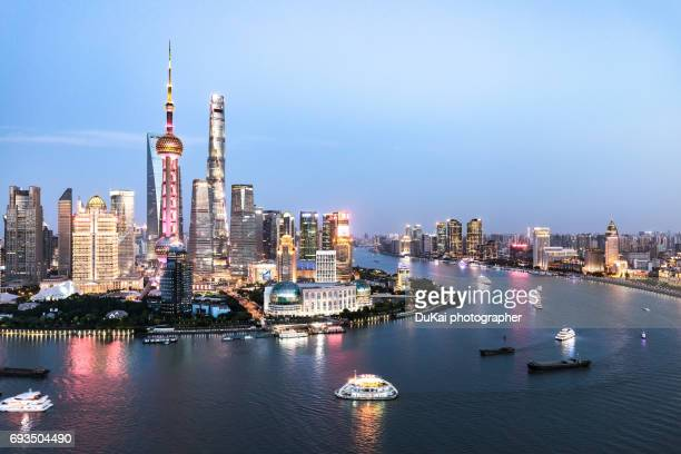 shanghai pudong skyline - huangpu river stock photos and pictures