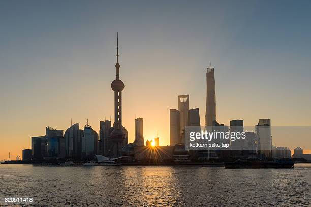 Shanghai Pudong skylines at sunrise.