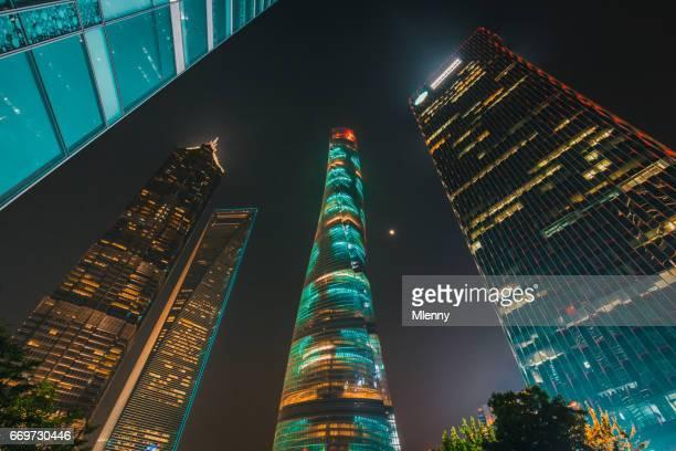 Shanghai Pudong Skyscrapers at Night, China