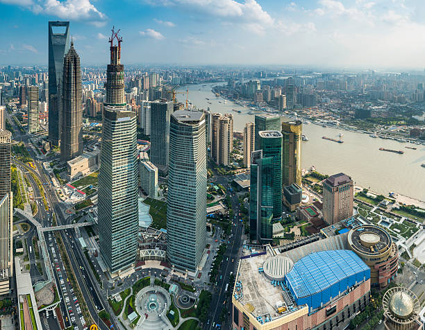 Shanghai Pudong Skyscrapers Futuristic Cityscape Aerial View China Wall Art