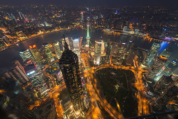 Shanghai Pudong Skyscrapers Neon Night The Bund China Wall Art