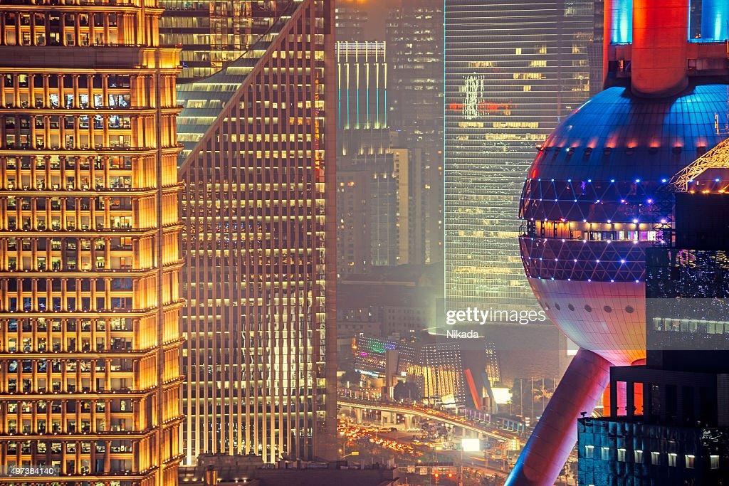 Pudong de Xangai com Torre Pérola Oriental : Foto de stock