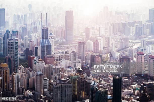 shanghai puxi - urban sprawl stock pictures, royalty-free photos & images