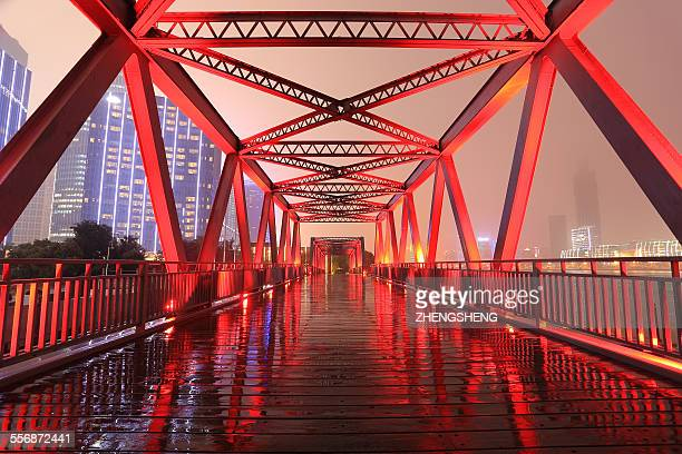 Shanghai red ironbridge Inverted reflection night