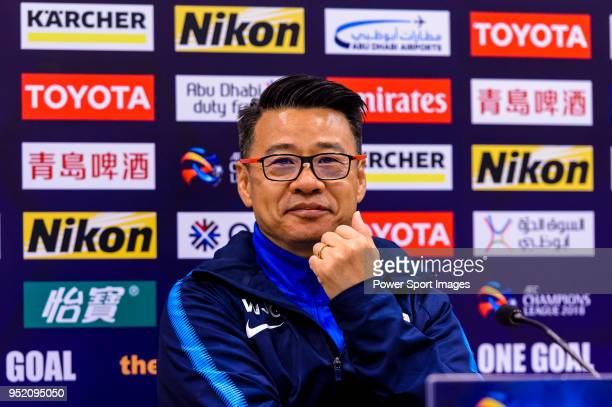 Shanghai Shenhua Head Coach Wu Jingui during the press conference for AFC Champions League 2018 Group Stage F Match Day 5 between Shanghai Shenhua...
