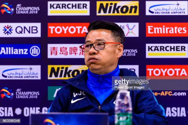 Shanghai Shenhua Head Coach Wu Jingui reacts during the press conference for AFC Champions League 2018 Group Stage F Match Day 5 between Shanghai...