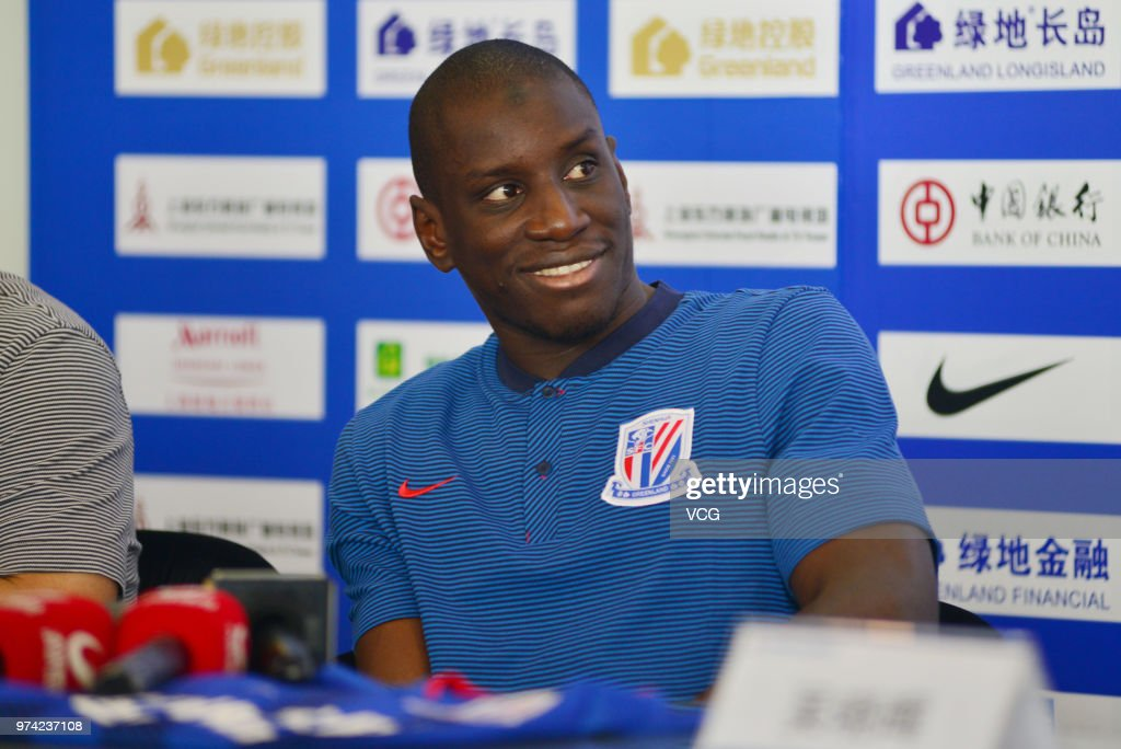 Shanghai Shenhua new signing Demba Ba attends a press conference on June 14, 2018 in Shanghai, China.
