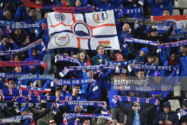 Shanghai Shenhua supporters cheer prior to the AFC Champions League Group H match between Kashima Antlers and Shanghai Shenhua at Kashima Soccer...