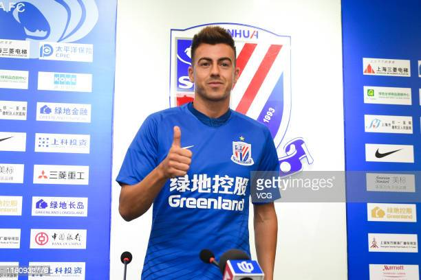 Shanghai Shenhua's new signing Stephan El Shaarawy poses for a photo with his jersey during the presentation on July 9, 2019 in Shanghai, China.