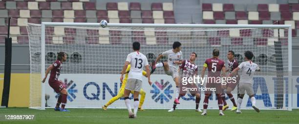 Shanghai SIPG attack from a corner during the AFC Champions League Round of 16 match between Vissel Kobe and Shanghai SIPG at the Khalifa...