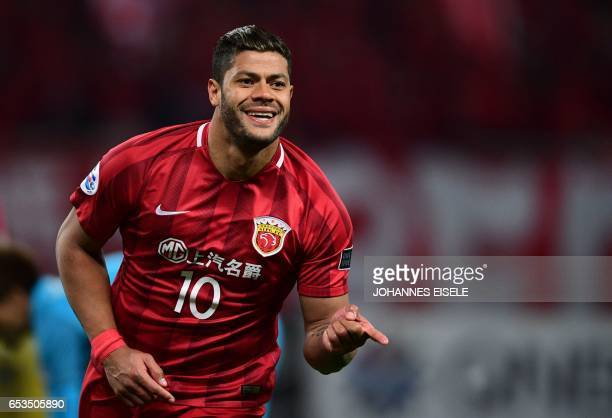 Shanghai SIPG' Brazilian forward Hulk celebrates after scoring a goal during the AFC Asian Champions League group football match between China's...