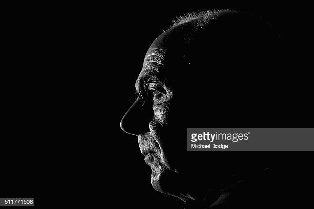 Shanghai SIPG head coach Sven Goran Eriksson speaks to the media during a Shanghai SIPG Press Conference at AAMI Park on February 23 2016 in...