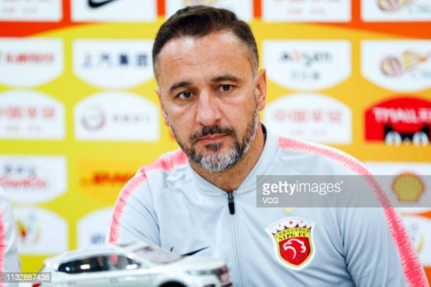 Shanghai SIPG head coach Vitor Pereira attends a press conference ahead of 2019 Chinese Super League match between Shanghai SIPG and Shanghai Shenhua...
