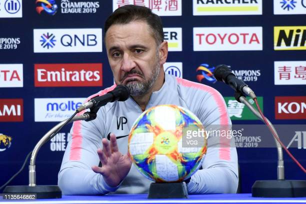 Shanghai SIPG head coach Vitor Pereira attends a press conference after the 2019 AFC Champions League Group H match between Ulsan Hyundai and...