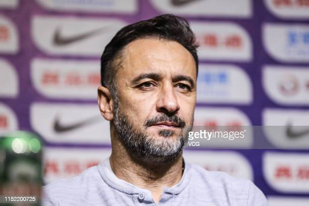 Shanghai SIPG head coach Vitor Pereira attends the press conference ahead of the 2019 CFA Cup eighthfinal match between Shanghai SIPG and Jilin...