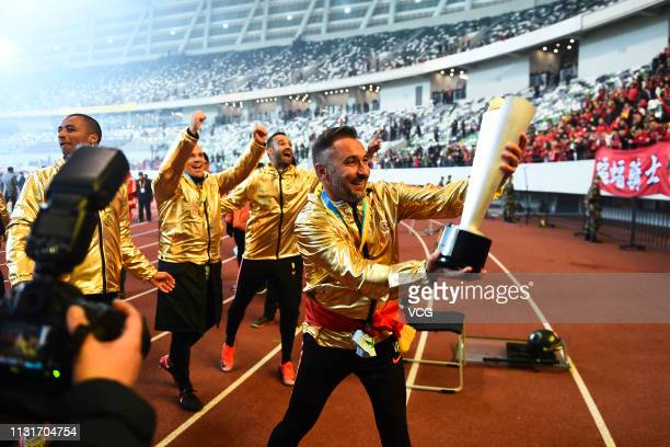 Shanghai SIPG head coach Vitor Pereira celebrates after the 2019 Chinese Football Association Super Cup between Shanghai SIPG and Beijing Guoan at...