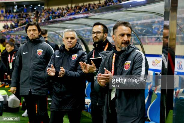 Shanghai SIPG head coach Vitor Pereira looks on during the 2018 Chinese Football Association Super League second round match between Shanghai...
