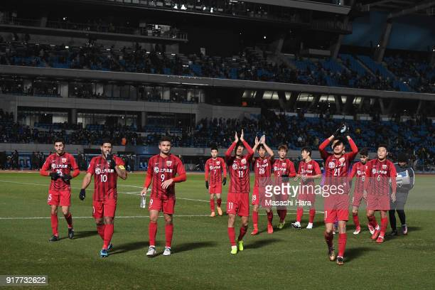 Shanghai SIPG players celebrate the 10 victory in the AFC Champions League Group F match between Kawasaki Frontale and Shanghai SIPG at Todoroki...