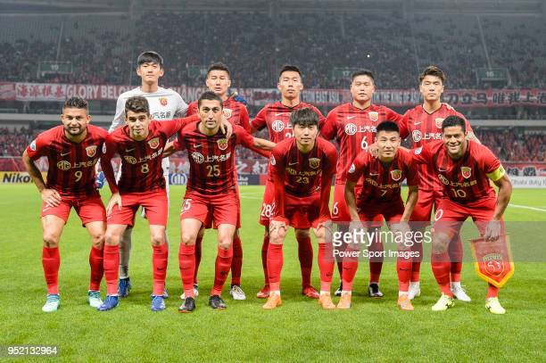 Shanghai SIPG squad pose for team photo during the AFC Champions League 2018 Group Stage F Match Day 5 between Shanghai SIPG and Kawasaki Frontale at...